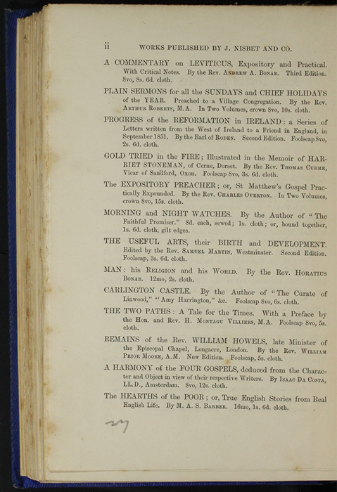 "Second Page of Back Advertisements in Volume 2 of the 1852 James Nisbet, Sampson Low, Hamilton, Adams & Co. ""Second Edition"" Reprint"