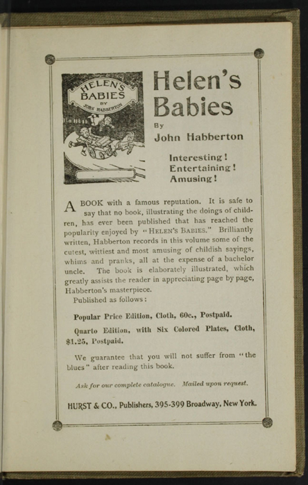 Fifth Page of Back Advertisements in the [1900] Hurst & Co. Reprint, Version 1