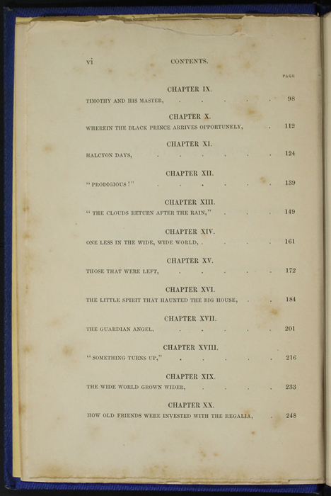 "Second Page of the Table of Contents for Volume 2 of the 1852 James Nisbet, Sampson Low, Hamilton, Adams & Co. ""Second Edition"" Reprint"