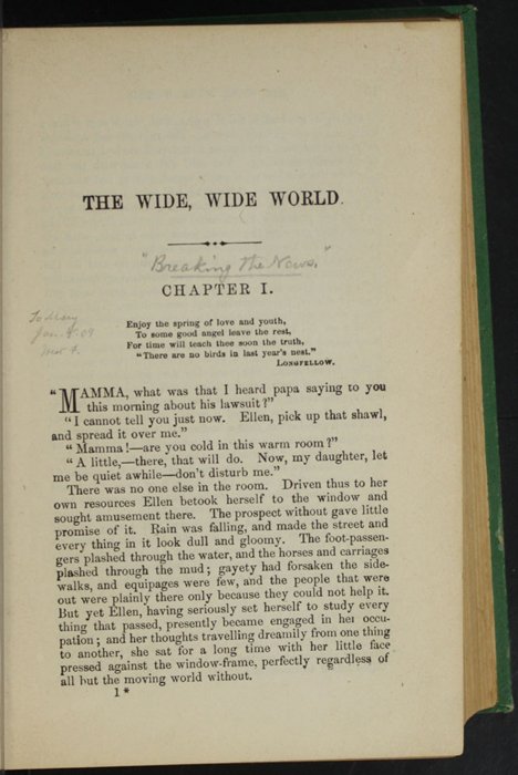 """First Page of Text in Volume 1 of the 1880 J. B. Lippincott & Co. """"New Edition"""" Reprint"""