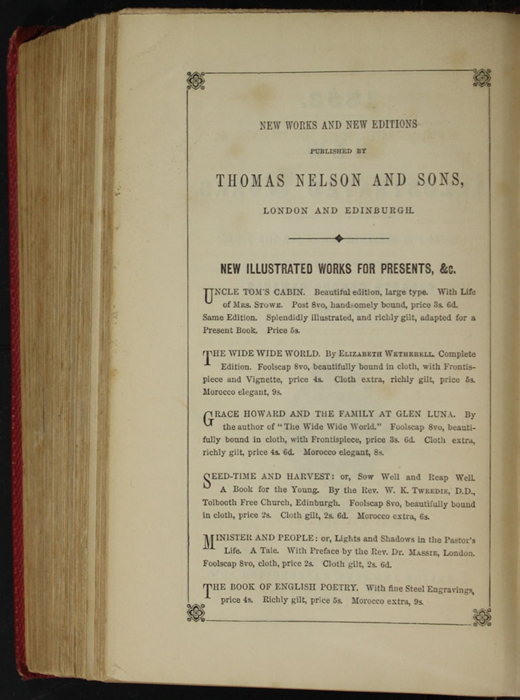 First Page of Back Advertisements in the 1852 T. Nelson & Sons Reprint, Version 1