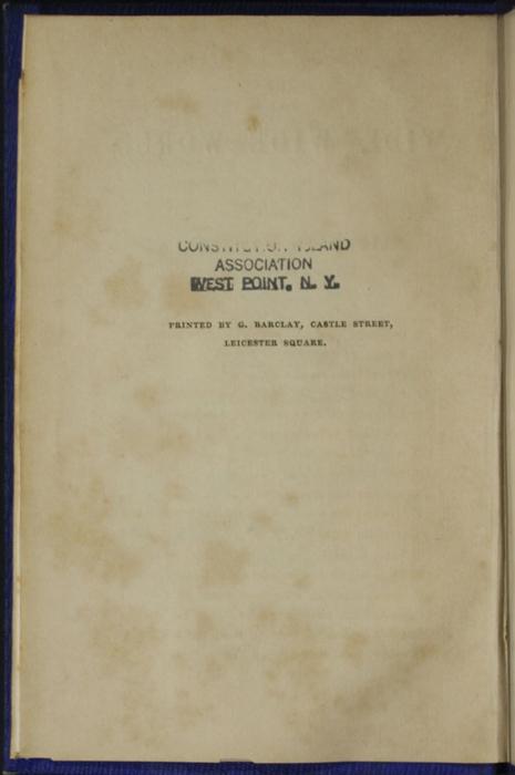 "Colophon for Volume 2 of the 1853 James Nisbet, Hamilton, Adams ""New ed."" Reprint"