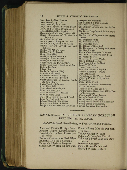 Tenth Page of Back Advertisements in the [1879] Milner & Sowerby Reprint