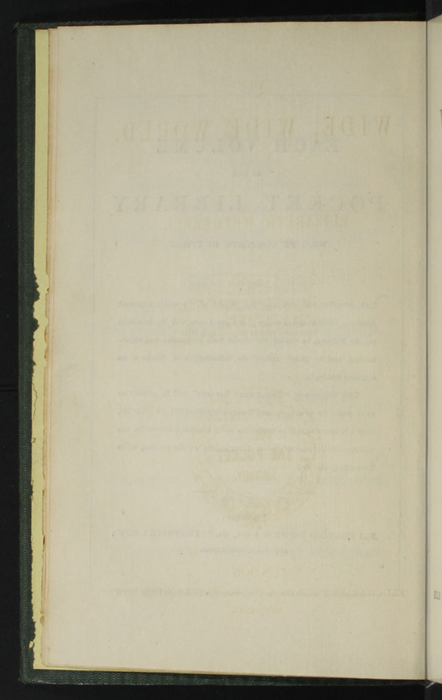 "Verso of Second Page of Front Advertisements in the 1853 Eli Charles Eginton & Co. ""Pocket Library"" Reprint"