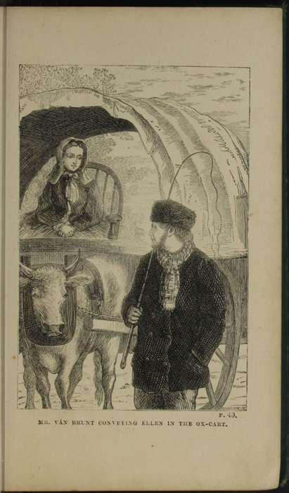 Illustration on Page 40a of the [1879] Milner & Sowerby Reprint,  Depicting Ellen Arriving in Thirlwall in the Ox Cart