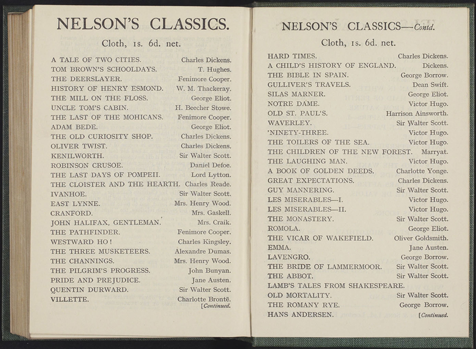 Advertisement in the [1923] T. Nelson & Sons, Ltd., Reprint