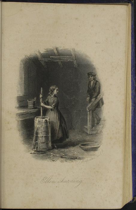 Illustration on Page 329a of the 1853 H. G. Bohn Reprint, Version 1 Depicting Ellen Churning Butter