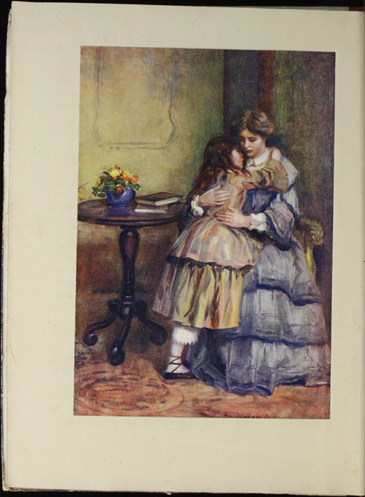 Full-Color Plate on Page 4b of the [1918] Thomas Nelson & Sons, Ltd. Abridged Reprint Depicting Ellen and Mamma Embracing in the Parlour