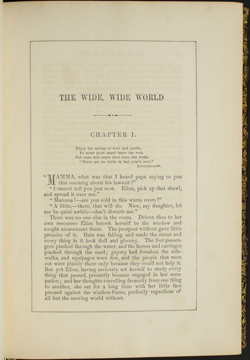 "First Page of Text in Volume 1 of the 1853 G.P. Putnam & Co. ""Illustrated Edition"" Reprint"