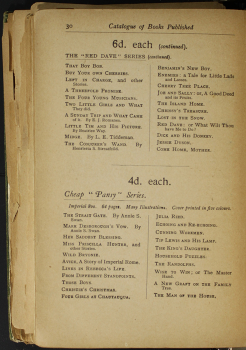 Thirtieth Page of Back Advertisements in the [1904] S. W. Partridge & Co. Reprint
