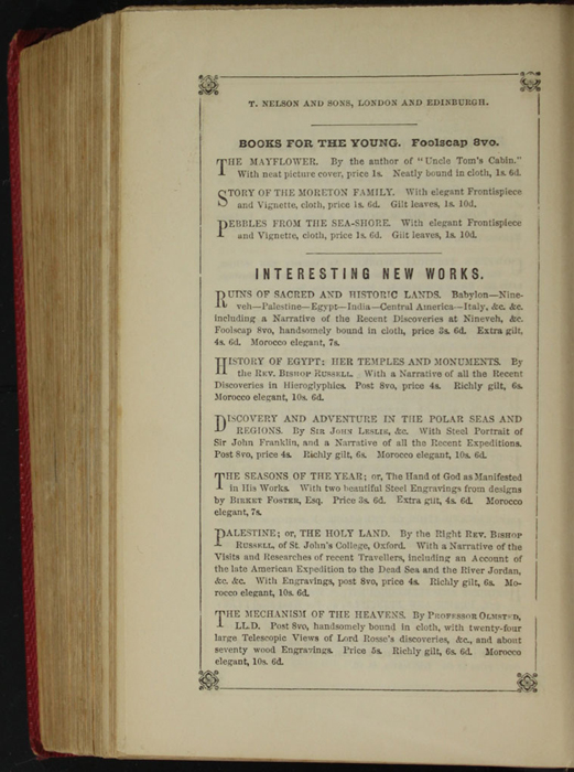 Third Page of Back Advertisements in the 1852 T. Nelson & Sons Reprint, Version 1