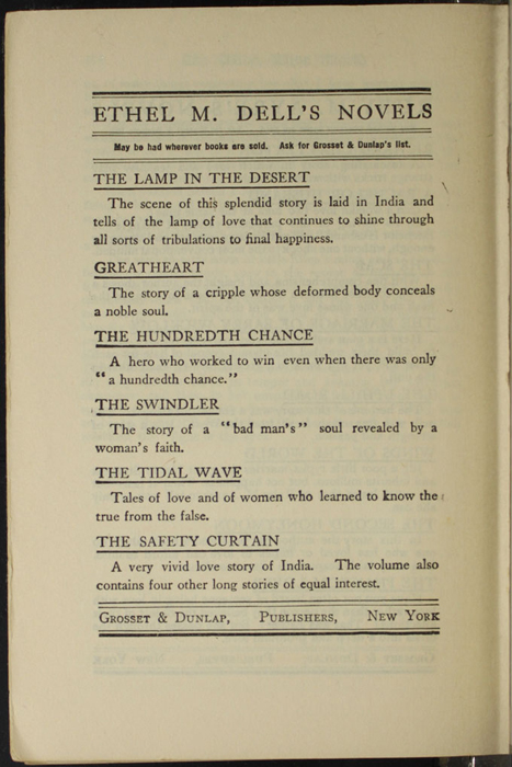 Second Page of Back Advertisements in the [1907] Grosset & Dunlap Reprint, Version 2
