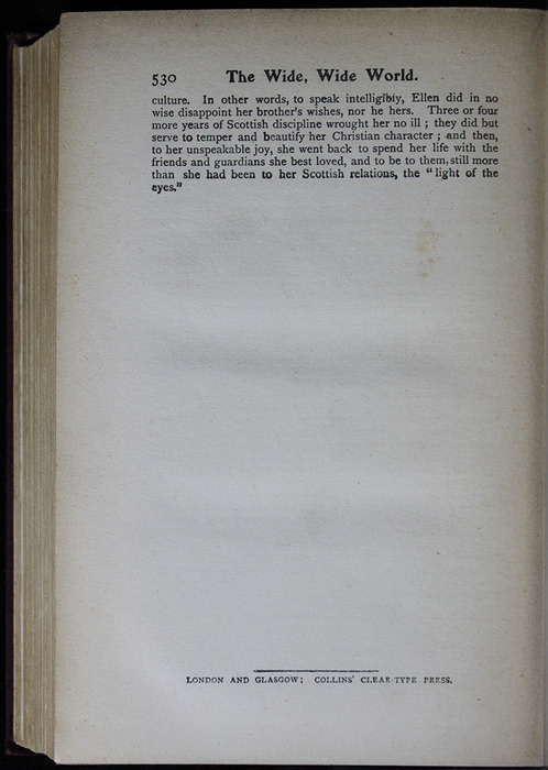 "Last Page of Text in the [1909] Collins' Clear-Type Press ""The Imperial Series"" Reprint"