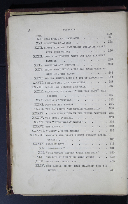"""Second Page of the Table of Contents of the 1886 James Nisbet & Co. """"New Edition"""" Reprint"""