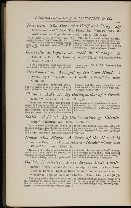 """Second Page of Back Advertisements in the 1871 J. B. Lippincott & Co. """"New Edition"""" Reprint"""