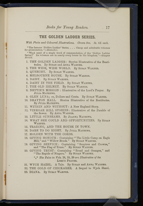 "Seventeenth Page of Back Advertisements in 1886 James Nisbet & Co. ""New ed. Golden Ladder Series"" Reprint"