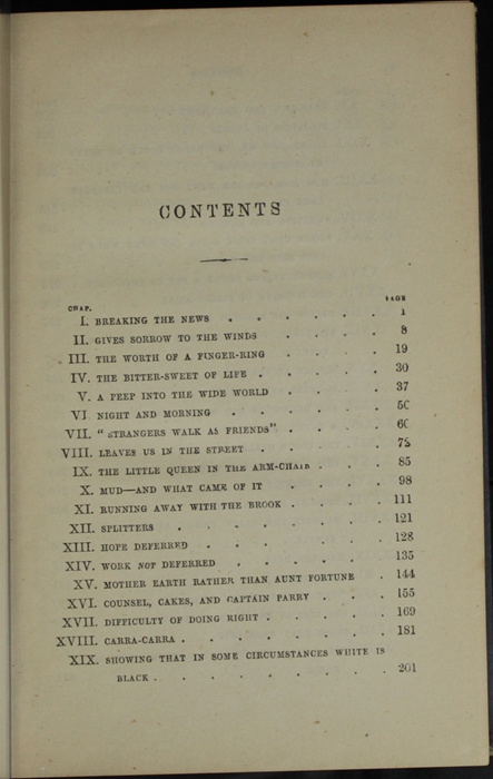"First Page of the Table of Contents for 1887 James Nisbet & Co. ""New ed. Golden Ladder Series"" Reprint"