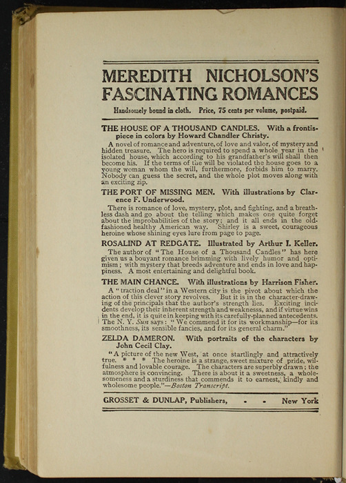 Second Page of Back Advertisements in the [1907] Grosset & Dunlap Reprint, Version 3