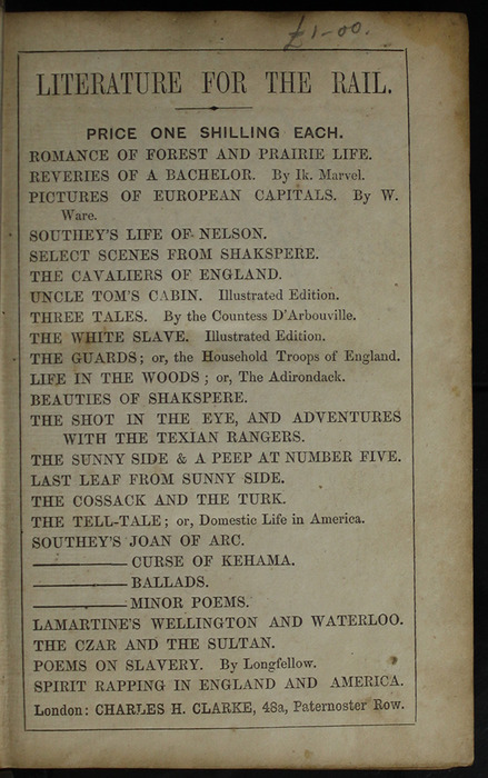 Second Page of Front Advertisements in the [1853] Clarke, Beeton, & Co. Reprint, Version 1