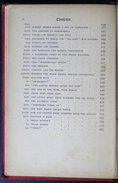 Second Page of the Table of Contents for the [1908] Seeley & Co. Ltd. Reprint