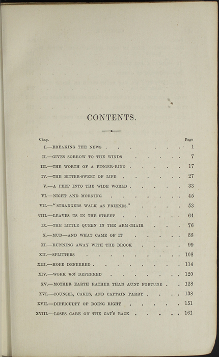 First Page of the Table of Contents for the 1853 H. G. Bohn Reprint, Version 1