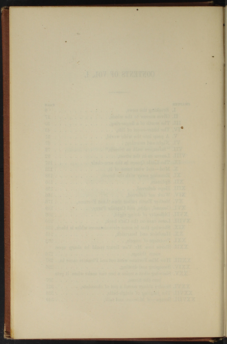 """Verso of Table of Contents of Volume 1 of the 1891 J. B. Lippincott Co. """"New Edition"""" Reprint"""