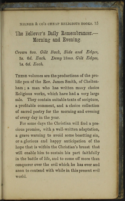 Fifteenth Page of Back Advertisements in the [1868] Milner & Co. Reprint, Version 1