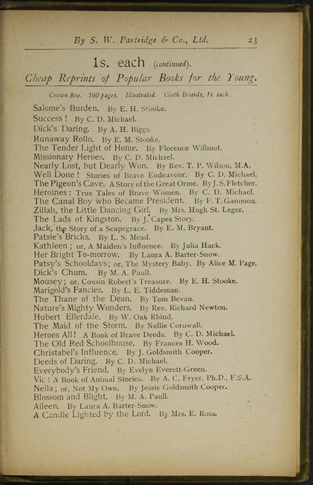 Twenty-Third Page of Back Advertisements in the [1910] S. W. Partridge & Co., Ltd. Reprint