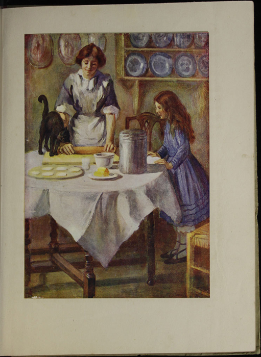 Full-Color Plate on Page 16a of the [1918] Thomas Nelson & Sons, Ltd. Abridged Reprint Depicting Alice Making Cakes