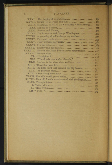 "Second Page of the Table of Contents for the [1900] Donohue Brothers ""Completed and Unabridged Ed."" Reprint"