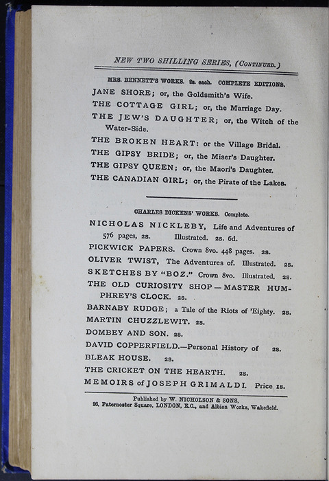 Second Page of Back Advertisements in the [1887] W. Nicholson & Sons Reprint, Version 2