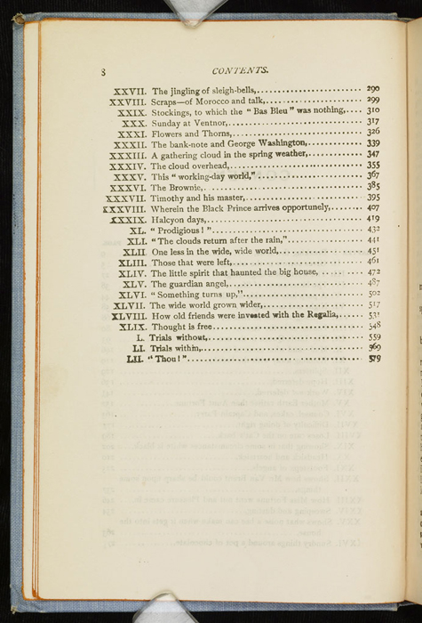 """Second Page of the Table of Contents for the [1902] M. A. Donohue & Co. """"Snug Corner Series"""" Reprint"""