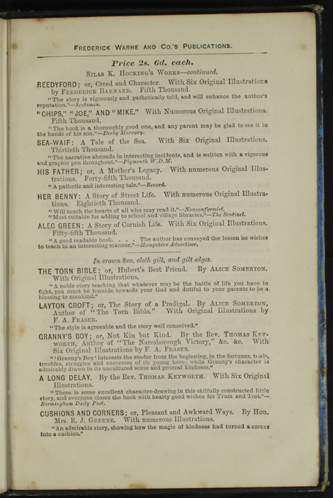 Seventh Page of Back Advertisements in [1890] Frederick Warne & Co. Reprint