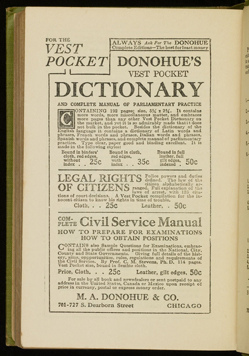 Second Page of Back Advertisements in the [1915] M. A. Donohue & Co. Reprint