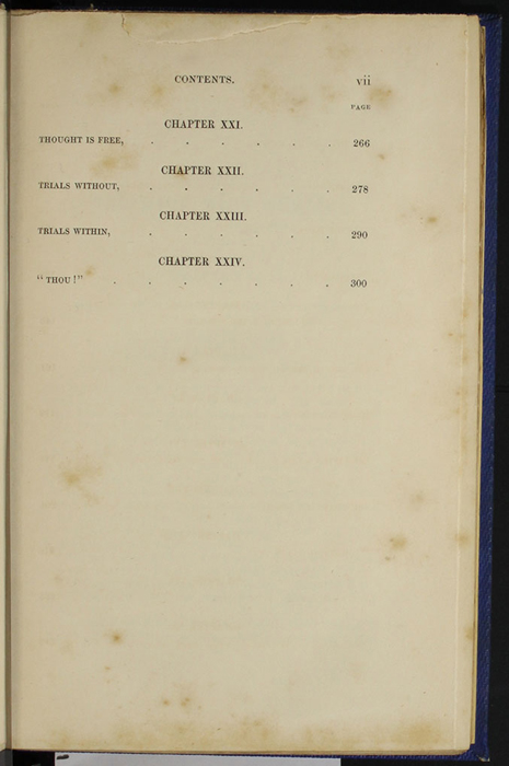 "Third Page of the Table of Contents for Volume 2 of the 1852 James Nisbet, Sampson Low, Hamilton, Adams & Co. ""Second Edition"" Reprint"