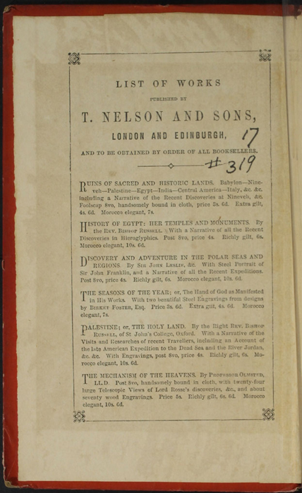 """Front Pastedown and First Page of Front Advertisements in the 1853 T. Nelson & Sons """"Nelson's Library for Travellers and the Fireside"""" Reprint"""