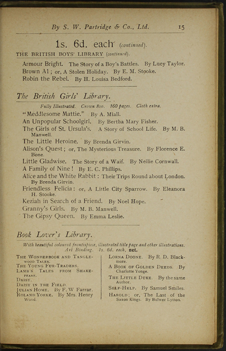 Fifteenth Page of Back Advertisements in the [1910] S. W. Partridge & Co., Ltd. Reprint