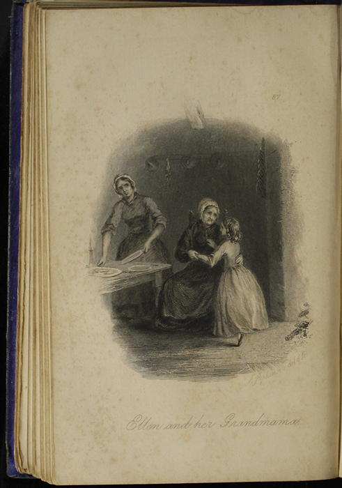 Illustration on Page 86c of the 1853 H. G. Bohn Reprint, Version 1 Depicting Ellen,  Aunt Fortune, and Grandma in the Kitchen