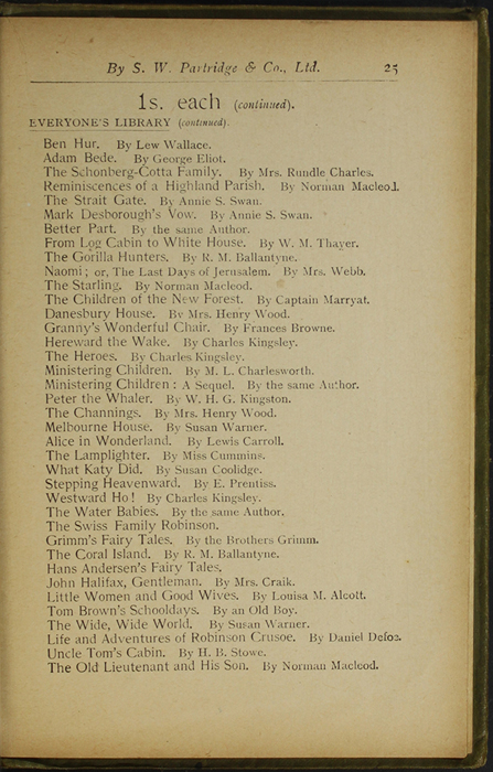 Twenty-Fifth Page of Back Advertisements in the [1910] S. W. Partridge & Co., Ltd. Reprint