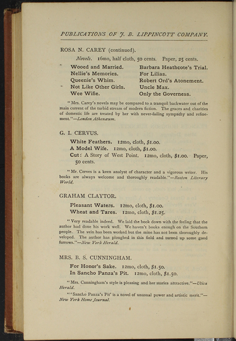 """Fourth Page of Back Advertisements in the 1891 J. B. Lippincott Co. """"New Edition"""" Reprint"""