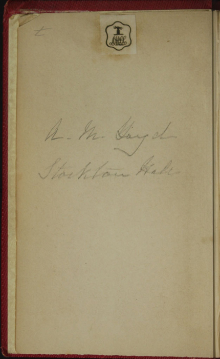 Verso of Front Flyleaf with Inscription of the 1852 T. Nelson & Sons Reprint, Version 1