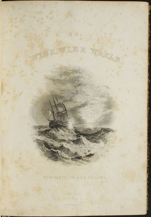 "Title Page Vignette to the 1853 G.P. Putnam & Co. ""Illustrated Edition"" Reprint Depicting a Ship at Sea"