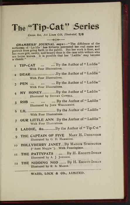 """Third Page of Back Advertisements in the [1902] Ward, Lock, & Co., Ltd. """"Complete Edition"""" Reprint"""