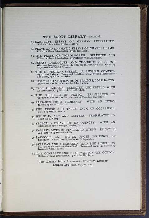Seventh Page of Back Advertisements in the [1896] The Walter Scott Publishing Co. Ltd. Reprint