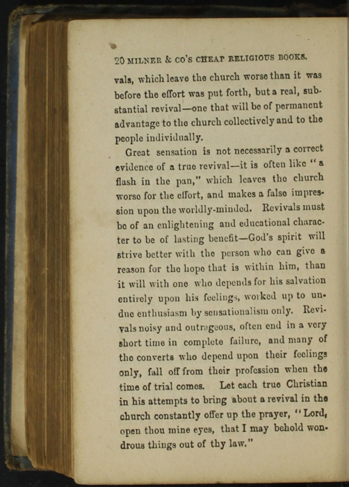 Twentieth Page of Back Advertisements in the [1868] Milner & Co. Reprint, Version 1