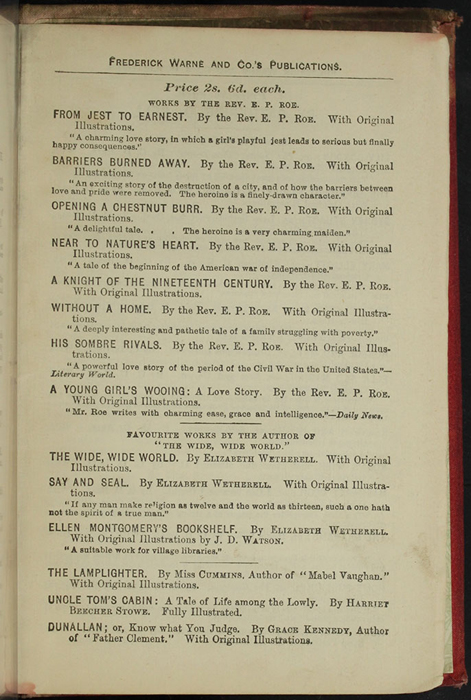 "Fifth Page of Back Advertisements of [1890] Frederick Warne & Co. ""Star Series"" Reprint, Version 2"