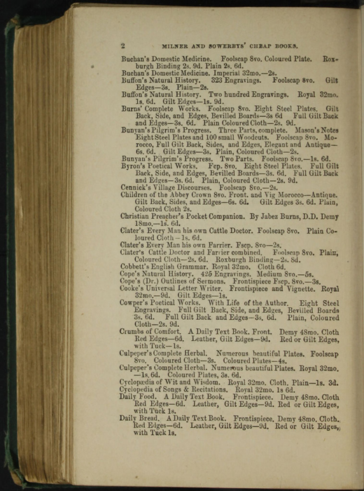 Second Page of Back Advertisements in the [1879] Milner & Sowerby Reprint
