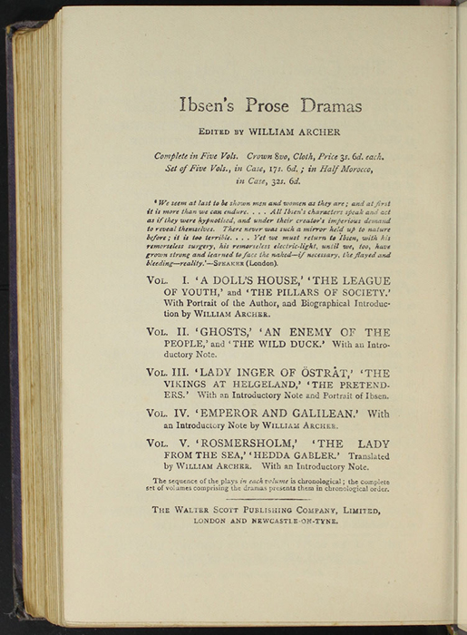 "Eighth Page of Back Advertisements in the [1904] The Walter Scott Publishing Co. Ltd. ""Complete ed."" Reprint"
