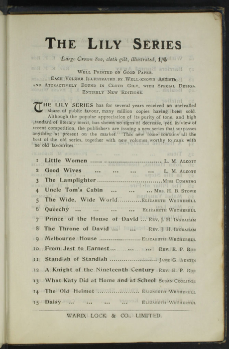 "Third Page of Advertisements to the [1904] Ward, Lock, & Co., Ltd. ""Complete Edition"" Reprint"