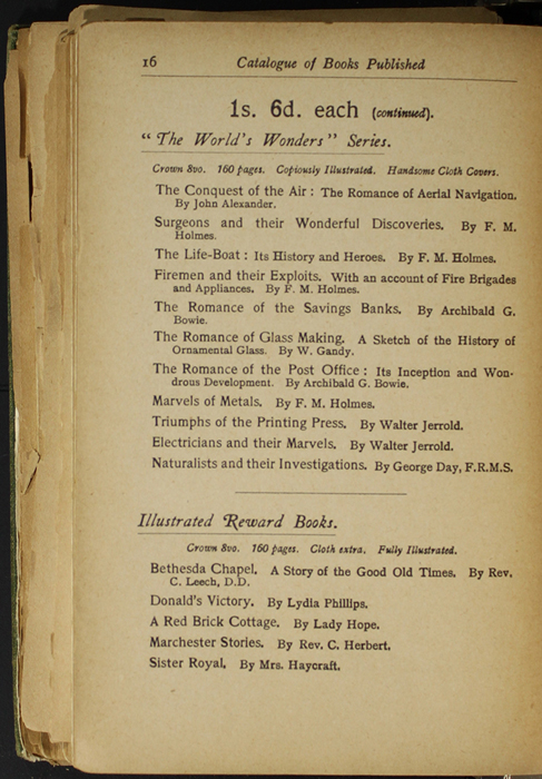 Sixteenth Page of Back Advertisements in the [1904] S. W. Partridge & Co. Reprint